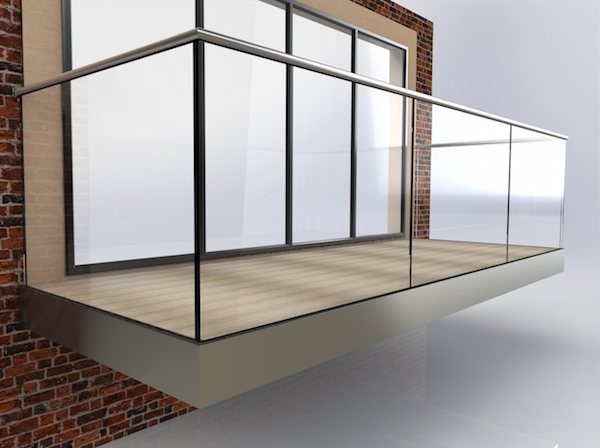 modern balcony with glass balustrade and composite decking