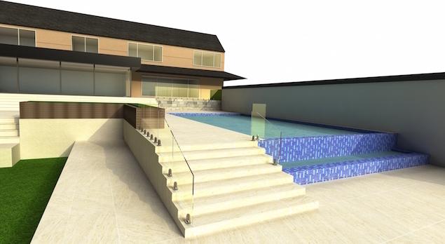 frameless glass balustrade design for decking steps