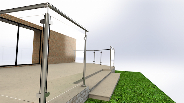 A garden patio balustrade design using a framed glass railing system
