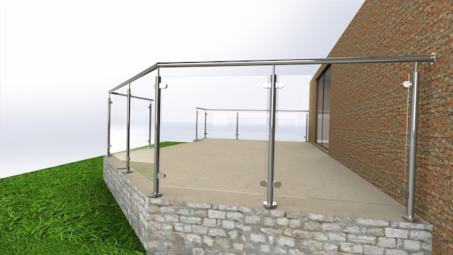A framed glass balustrade design solution to create a patio railing system