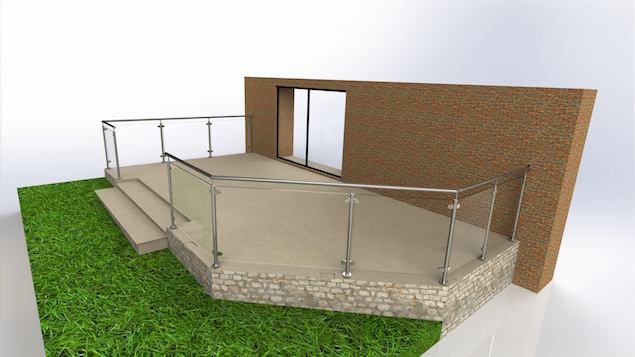 Stainless steel framed glass balustrade design solution for a raised patio area