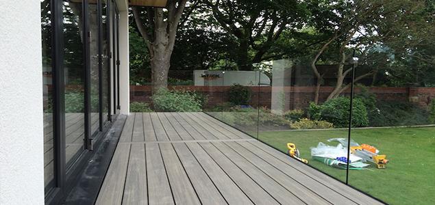 frameless glass balustrade and decking area