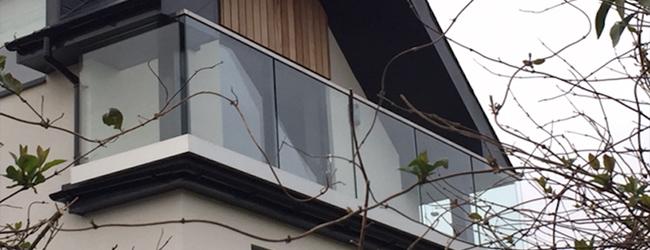 framed glass balustrade on balcony