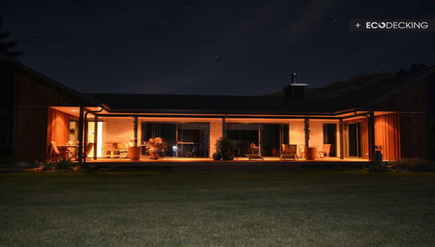 nightime decking area