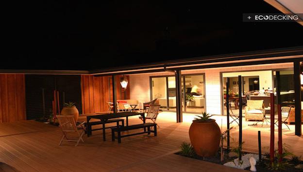 garden decking nightime