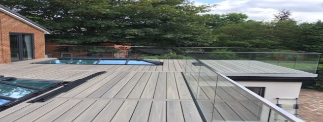 Glass Balustrade and Composite Decking Boards on Rooftop Terrace