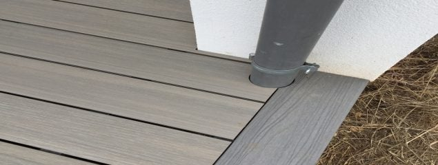 Composite Decking Boards around downpipes