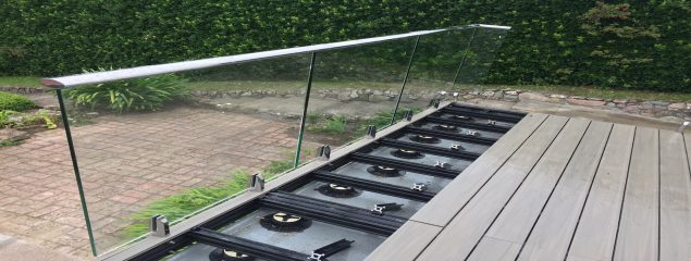 Mini-Post glass balustrade kit fixed on to QwickBuild and ResortDeck