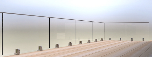 Mini-Post frameless glass balustrade system CAD Drawing