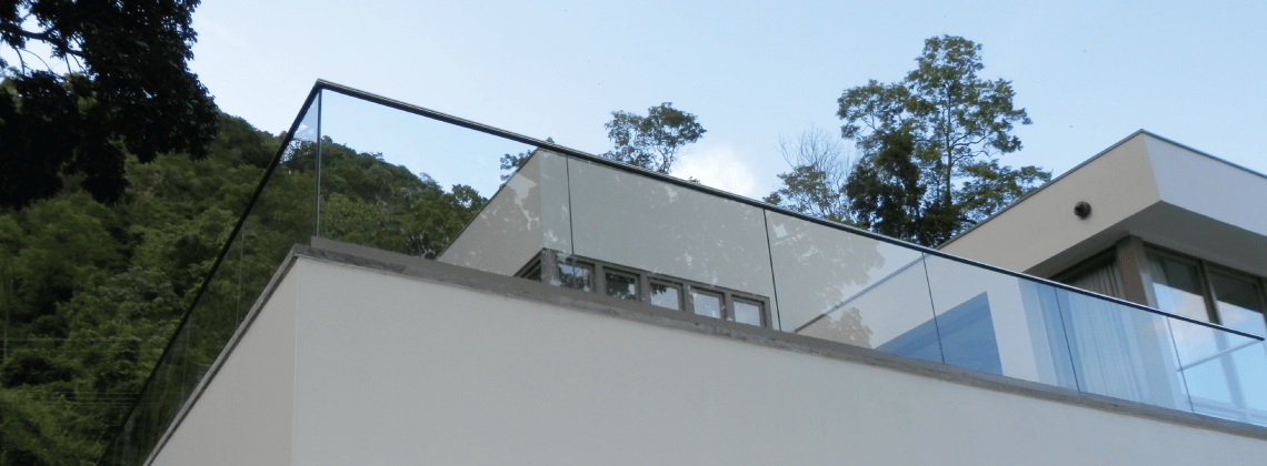 Frameless Glass Balustrade - Top Mount F Shape Glazing Channel